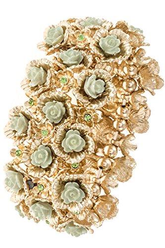 Karmas Canvas Cluster Floral Bead Metal Link Bracelet (Mint) 14kt Bracelets Childrens Jewelry Rings