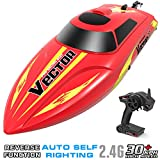 VOLANTEXRC Remote Control Boat for Pools and Lakes Vector30, 19mph High Speed Electric RC Boat for Kids or Adults, with Self-righting, Reverse Function for Boys or Girls (795-3 Red)