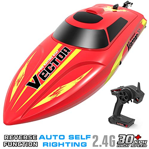 (VOLANTEXRC Remote Control Boat for Pools and Lakes Vector30, 19mph High Speed Electric RC Boat for Kids or Adults, with Self-righting, Reverse Function for Boys or Girls (795-3 Red))