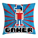 Ambesonne Video Games Throw Pillow Cushion Cover, Blue and Red Striped Boom Beams Retro 90's Toys Boy with Cap, Decorative Square Accent Pillow Case, 16 X 16 Inches, Vermilion Blue White Black
