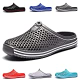 HMAIBO Garden Clogs Shoes Women's Men's Lightweight Breathable Mesh Sandals Quick Drying Beach Pool Water Shoes Anti-Slip Slippers Non-Slip Walking Footwear Grey 42