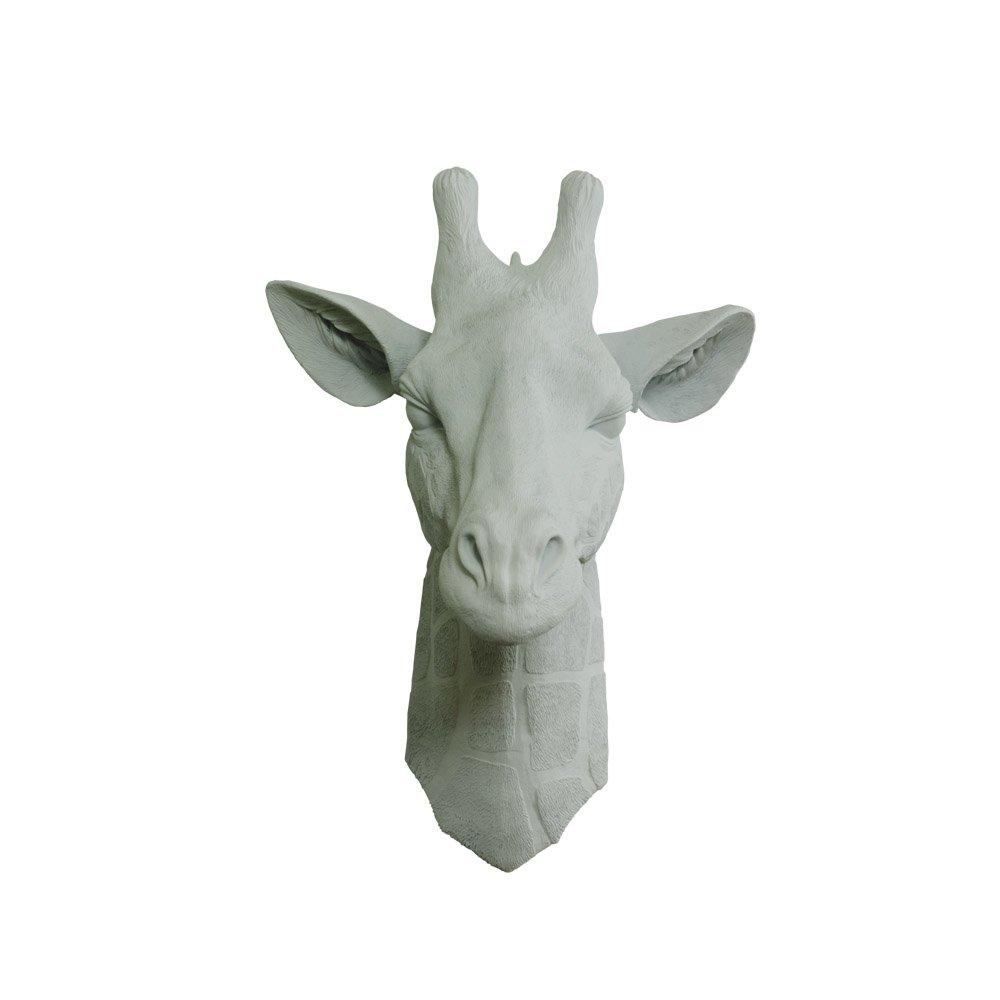 Wall Charmers Faux Giraffe Head Gray Fake Ceramic Animal Decorative Resin Mounted Replica Taxidermy Art Decor Plastic Antler Mount