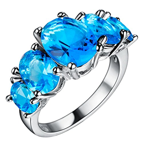FENDINA Womens Silver Plated Gorgeous Five Stone Sky Blue CZ Crystal Promise Engagement Wedding Bands Eternity Collection Anniversary Rings for Her Valentins Day Gifts