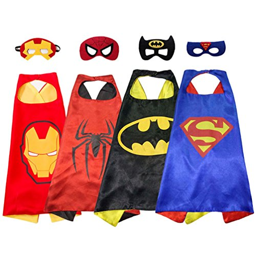 [Superhero Cape and Mask Costumes Set of 4 Different Superhero Dressing Up Costumes for Kids (4 Pack-Superhero] (Villain Costume Ideas For Women)