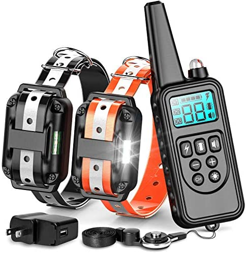 F-color Dog Training Collar, 865 Yards Training Collar with Remote for Small Medium Large Dogs, Reflective Strap with 4 Modes, Waterproof Training Collar for 2 Dogs