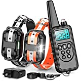 F-color Dog Training Collar, Reflective Strap Dog Shock Collar for Small Medium Large Dogs, 865 Yards Remote Range with Beep Vibration Shock Light Mode, Waterproof Shock Collar for 2 Dogs