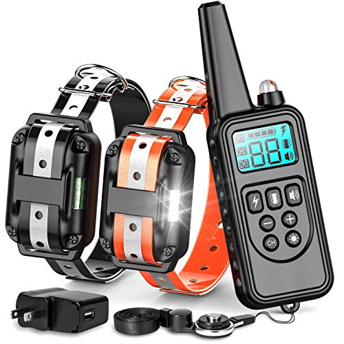 F-color Dog Training Collar, 865 Yards Dog Shock Collar with Remote for Small Medium Large Dogs, Reflective Strap with Beep Vibration Shock Light Mode, Waterproof Shock Collar for 2 Dogs