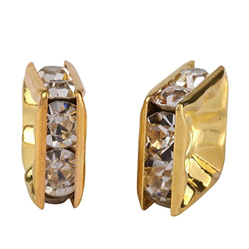 200pcs Top Quality Square Rhinestone Crystal Spacer Beads 8mm Gold Plated Brass Metal for Jewelry Craft Making CF86-8