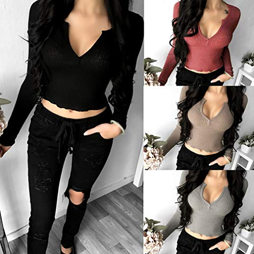 Basic Tinta Casual Unita Fit Shirt Blusa Basso Maglie Donna Slim Breve Sexy XL Cima S a T Petto Cachi Lunga Manica Elegante Unvzzawq8
