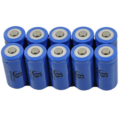 10x 16340 Battery New for 3.7v Li-ion Top button Rechargeable CR123A RCR123A LR123A LC16340 IMR16340 BRC16340 LED Torch FlashLight Laser Pointer Pen