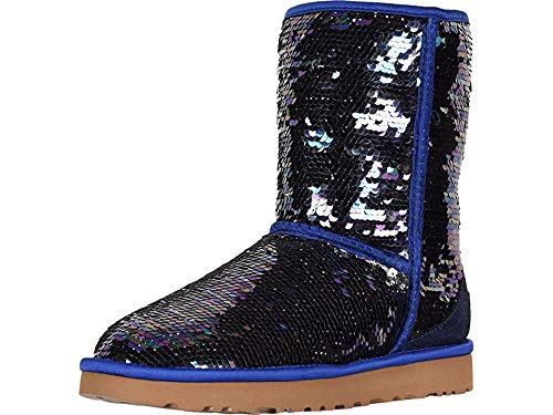 UGG Women's W Classic Short Sequin Fashion Boot, Navy, 9 M US