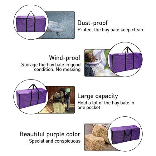 Essort Hay Bale Storage Bag, Extra Large Tote Hay Bale Carry Bag, Foldable Portable Horse and Livestock Hay Bale Bags with Zipper Waterproof, Purple 45'' x 14'' x 23'' by ESSORT (Image #3)