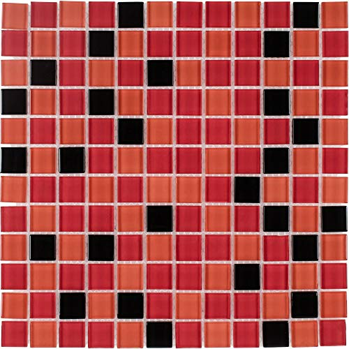 MTO0375   Modern Uniform Squares Black Orange Red Glass Mosaic Tile