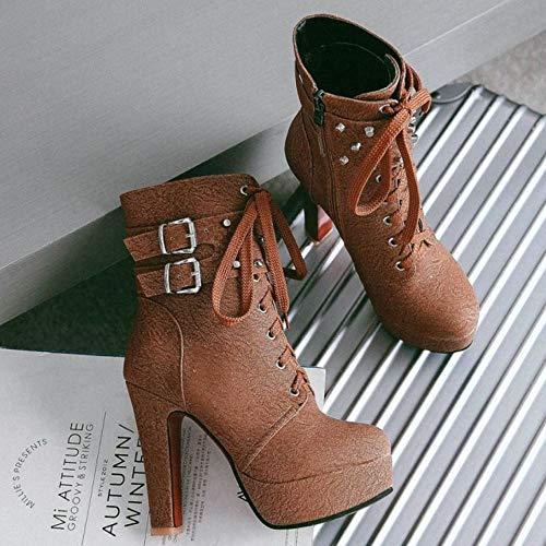 3 Classico Donne Melady Tacco Piattaforma marrone Boots Con Blocco Martin aSFwU8x