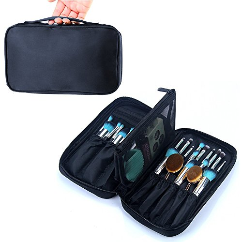 OR Pure Professional Cosmetic Makeup Brush Organizer Makeup Artist Case with Belt Strap Holder Cosmetic Makeup Bag Handbag Black (Cosmetic Set Case)