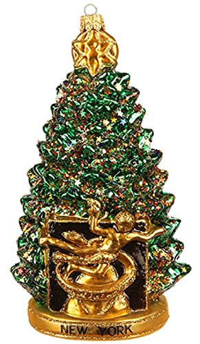 Pinnacle Peak Trading Company New York City Rockefeller Center Christmas Tree Polish Glass Ornament Decoration