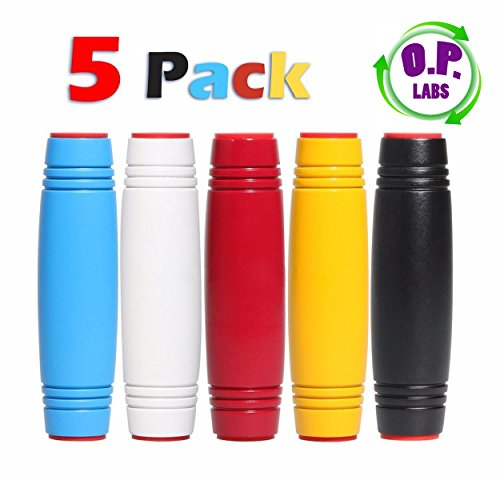 [OP LABS, pack of 5 Amazing Desk Toy Fun Fidget Rollver Black Blue Rolling stick Flip Toys Roller Stick Green On Prime Orange Rollover Yellow Rollver MOKURU] (Amazing Toys Lab)