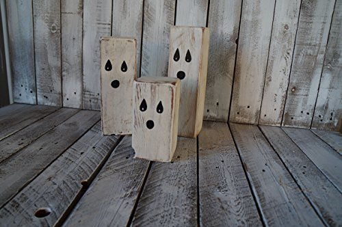 3 Halloween Ghosts, Wood block Halloween Décor By Skrappie Happie ()