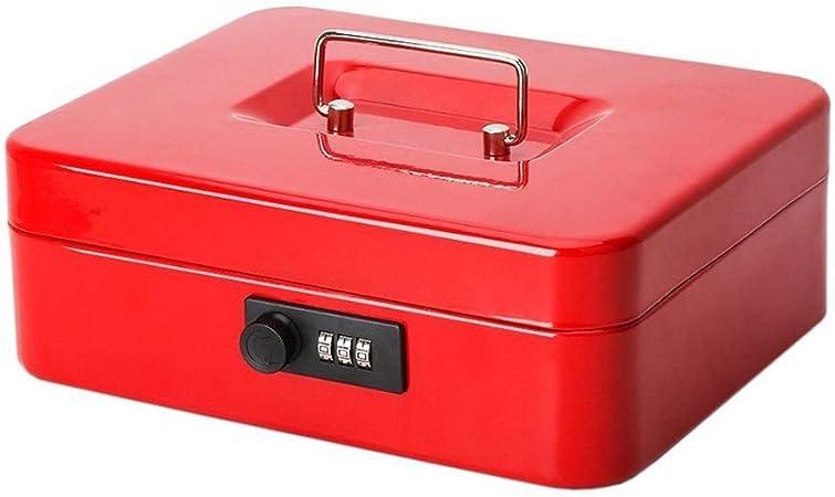RMXMY Caja de almacenamiento de metal portátil de 30 cm Caja de dinero con cerradura de