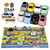 Car Toys with Play Mat, 8 Pull Back Cars, 6 Road Signs and 15.5'' x 23.5'' Playmat, Perfect Mini Diecast Cars Play Sets Party Favors, Cake Decorations, Topper