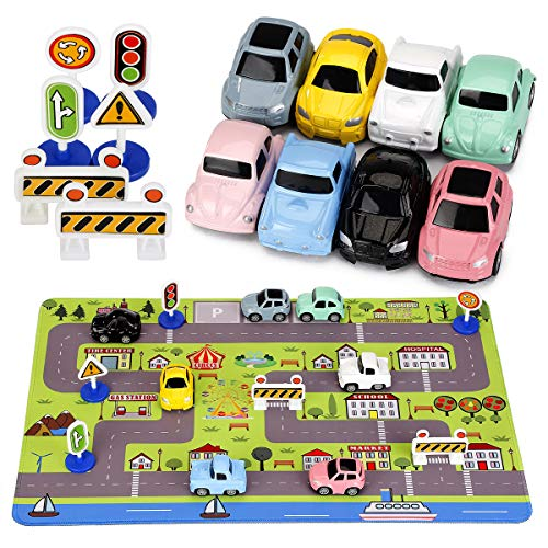 Car Toys with Play Mat, 8 Pull Back Cars, 6 Road Signs and 15.5