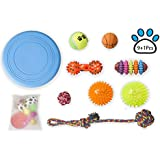 Petopian Dog Toy Sets for Puppy and Medium Dogs-Chew Balls and Rope, Squeaker Toy, Frisbee, Flashing Spiky Ball, Set of 9 Packs