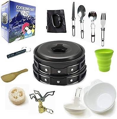 17Pcs Durable Pot Pan Bowls Camping Cookware Mess Kit Backpacking Hiking Outdoor