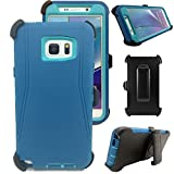 Kecko® Defender Series 3-layer Shockproof Weather Impact Resistant Military Duty Full Body Protective Rugged Silicon Case w/ Built-in Screen Protector&Belt Clips for Samsung Galaxy Note 5 (Teal)