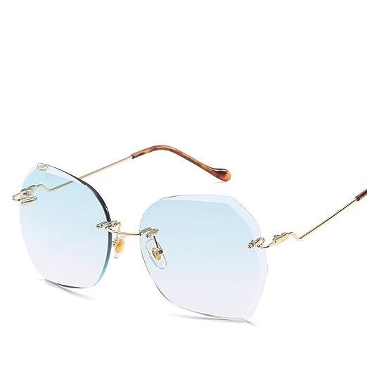 Aoligei Sonnenbrillen ohne Frame Ozean Sonnenbrille Europa und United States-Large Frame Sonnenschirm Spiegel Metall Sonnenbrille fcKN5Gro