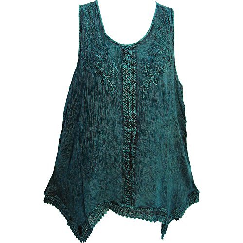 Yoga Trendz Indian Bohemian Marble Wash Embroidered Cotton Sleeveless Cami Blouse Top (Regular, - Top Gypsy Embroidered