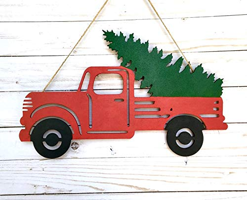 Old Red Truck With Christmas Tree In Back.Christmas Red Truck Door Sign Hoilday Truck Door Hanger Home Decor