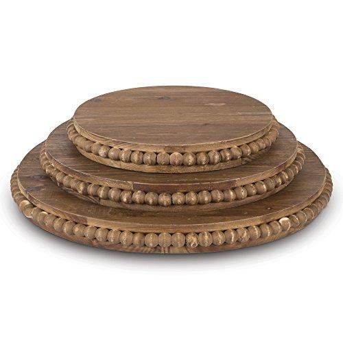 Lone Elm 94151 Wood Beaded Pedestal Tray (Set of 3), 16