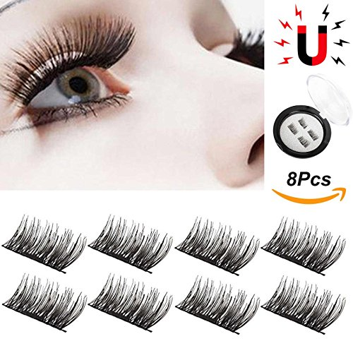 8Pcs Magnetic Eyelashes 3D Reusable False Eye Lashes Natural Magnet Extension [No Glue] Simple FunTrip