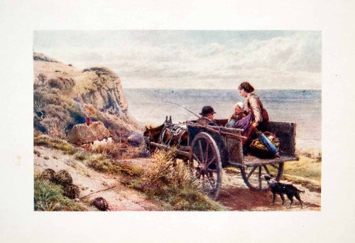 1906 Color Print Myles Birket Foster Horse Wagon Cart Sea Dog Cottage Family Art - Original Color Print