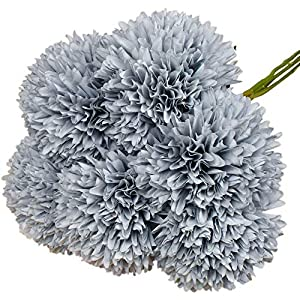 Lacheln Artificial Dahlia Silk Flowers Ball Shaped with Long Stem Pack of 6 for Wedding Party Home Floral Decor 7