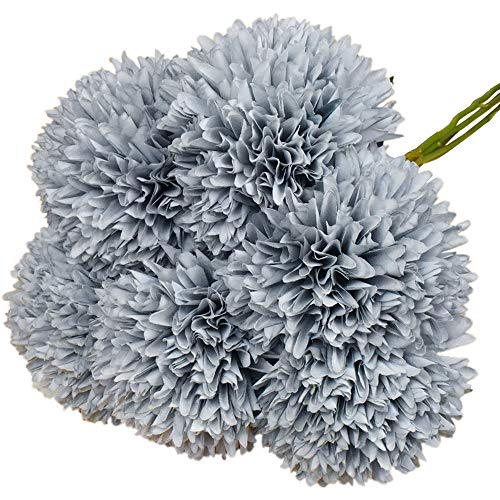 Lacheln Artificial Dahlia Silk Flowers Ball Shaped with Long Stem Pack of 6 for Wedding Party Home Floral Decor (Dusty Blue)