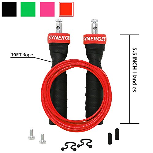 iheartsynergee Rogue Red Jump Rope - Premium Quality - Best for Boxing MMA Fitness Training - Speed - (2) Adjustable 10 Ft Cables - Steel Ball Bearings