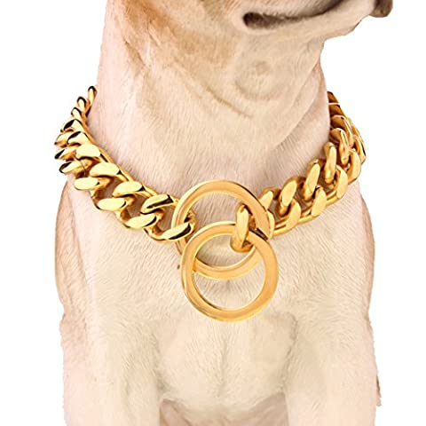 15mm Plated Gold Stainless Steel Curb Cuban Link Chain Dogs Necklace 12