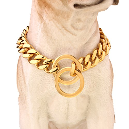 Dogs Plated Gold Stainless Steel Curb Cuban Link Chain Necklace 12