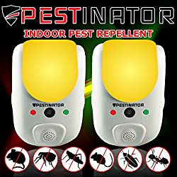 Pestinator Dual Ultrasonic & Electromagnetic Pest Repeller | Home Indoor Insect, Rodent, Bug Repellent | Child Safe, Cruelty Free | Repel Rats, Mice, Roaches, Mosquitos, Ants, Spiders (Pack of 2)