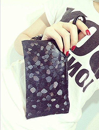 Wristlet Pouch PU Black Clutch Women Cosmetic Tokyo Casual Leather for O A5wq4RA