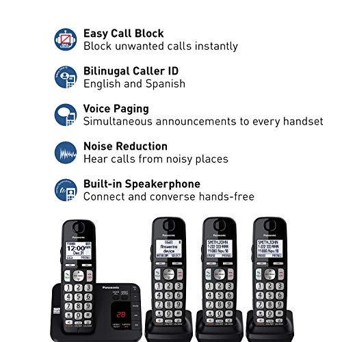 PANASONIC DECT 6.0 Expandable Cordless Phone System with Answering Machine and Call Blocking - 4 Handsets - KX-TGE434B (Black) by Panasonic (Image #1)