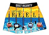 Brief Insanity Let's Get Reel Fishing Sailing Silky Funny Boxer Shorts Gifts for Men Dad