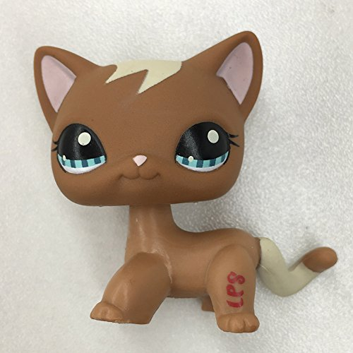 Littlest Pet Shop LPS #1194 Light Cream Yellow Dogs Action Rare Figure Kids Toys (LPS White Bangs Brown Cat)