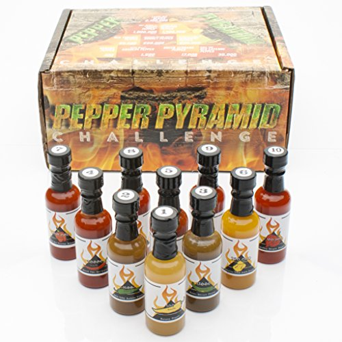 Hot Sauce Gift Set Pepper Challenge - 10 Sauces, From 10 Hot Peppers, the Hottest Carolina Reaper, 2 million Scoville Units, to the Mild Banana Pepper at 300. The Pepper Pyramid Sampler by, BYOB -