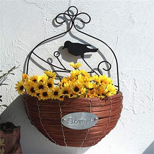 ハンギングバスケット プランターをハンギングフラワーポットウォールハンギングアイアンアート鳥籐フラワーバスケットリビングルームバルコニークリエイティブハンギング2個 植木鉢 (Color : Black+Brown, Size : 29 x 39cm)