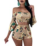 Womens Summer Two Pieces Outfits Bodycon Flared Sleeve Floral Printed Crop Tank Top Shirt Hot Pants Set Club Shorts Boho Maxi Party Club Dress Khaki L