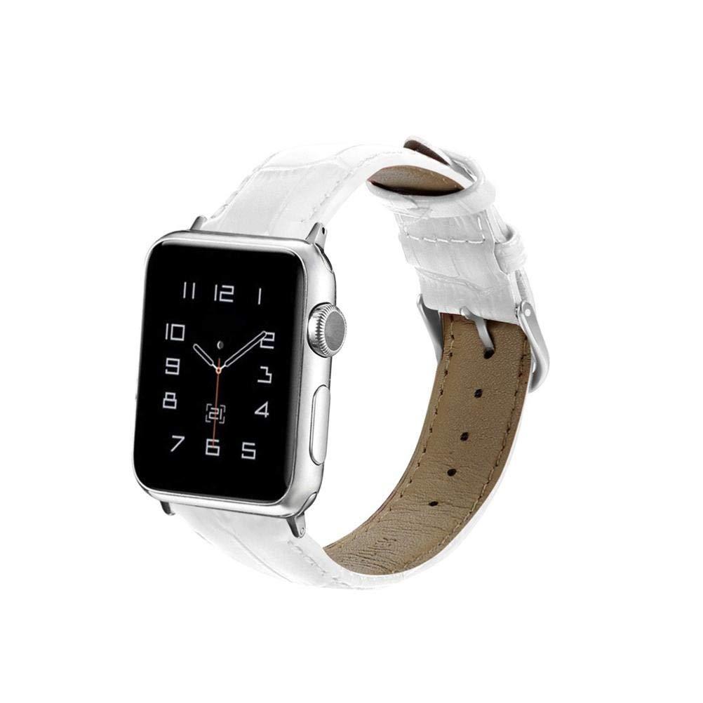Bestow Apple Watch Series Nueva Pulsera de Repuesto de Cuero Correa Correa de Cuero de cocodrilo de Apple Band Reloj Inteligente Electronics Gadgets Reloj ...