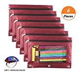 3 Ring Binder Pencil Pen Pouch - 6 Pcs Zipper Binder Pouch with Clear Window for School Office Daily Storage (Wine Red)