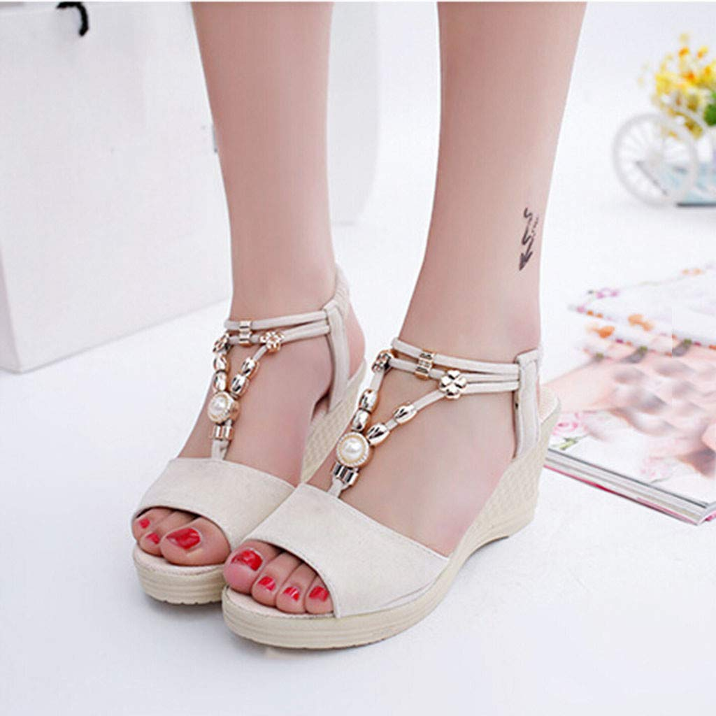 TIFENNY Women Fashion Wedges Sandals Fish Mouth String Bead Roman Shoes Buckle Casual Beach Sandals